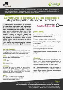 Formation politique et dispositifs de participation 2015
