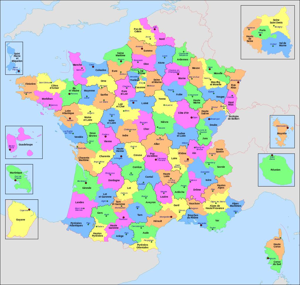 France, départements.