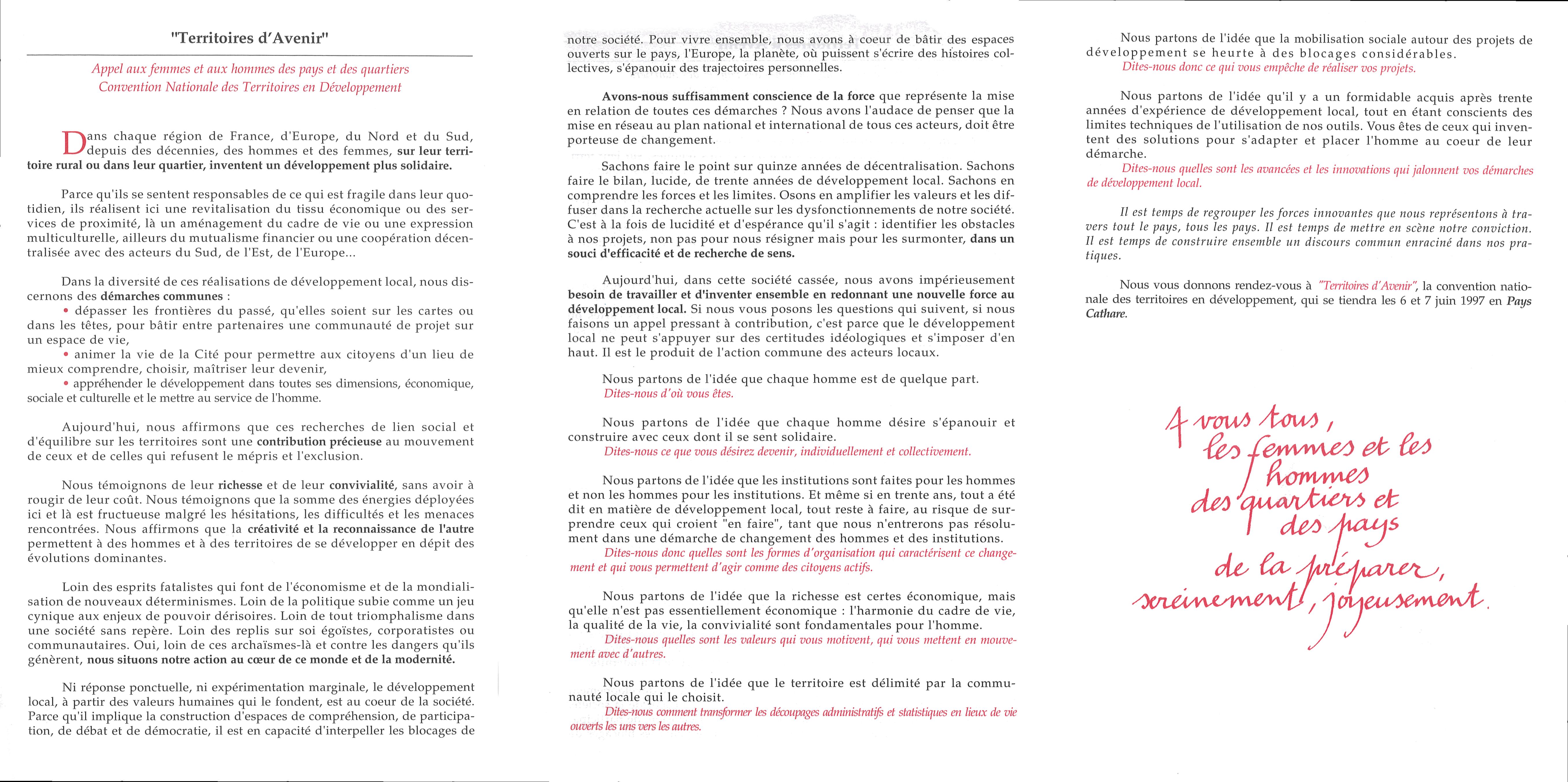 Manifeste de Carcassonne Territoires d'Avenir