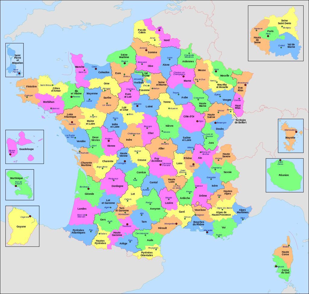 France, départements.