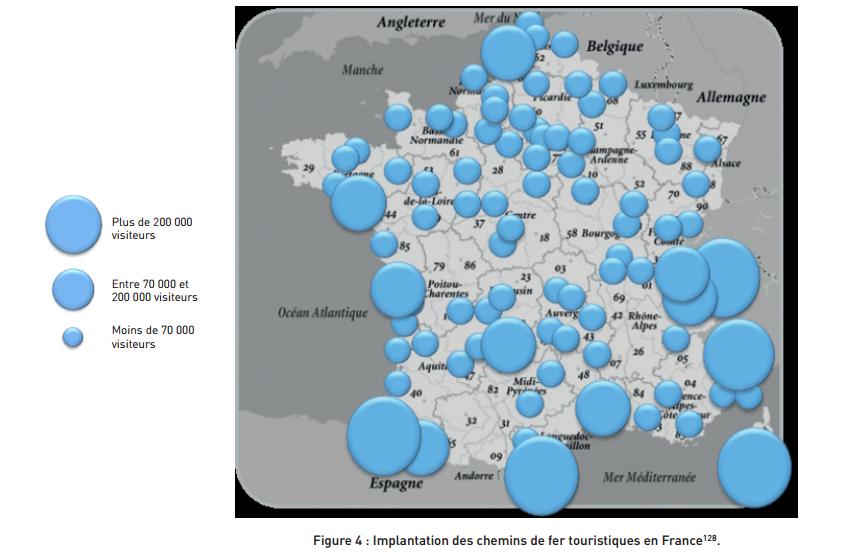 carte de la fréquentation des chemins de fer touristiques en France